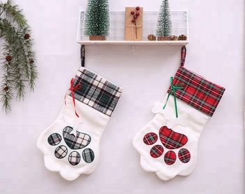 Dog Christmas Stocking.Plaid Christmas Gift Bags Pet Dog Cat Paw Stocking Socks Xmas Tree Ornaments Christmas Stocking Sock Buy Christmas Stocking Sock Christmas Stocking