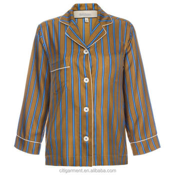 Pyjama Mosterd Buy Overhemden Zijden Streep Vrouwen Shirt mnvN08w