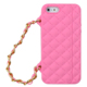 fashion ladies custom silicone cell phone case phone cover with gold chain bracelet