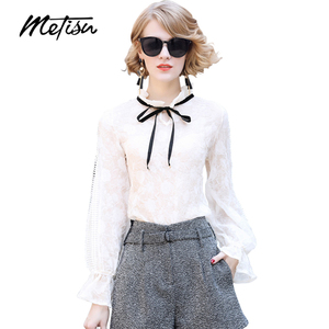 Fashion Style Female Bow Tie Neck Embossed Ladder Long Sleeve Ladies Blouse