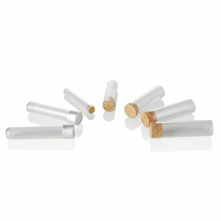 newest 50ml clear glass test tube cigarette spice bottle vial with wooden cork for Laboratory