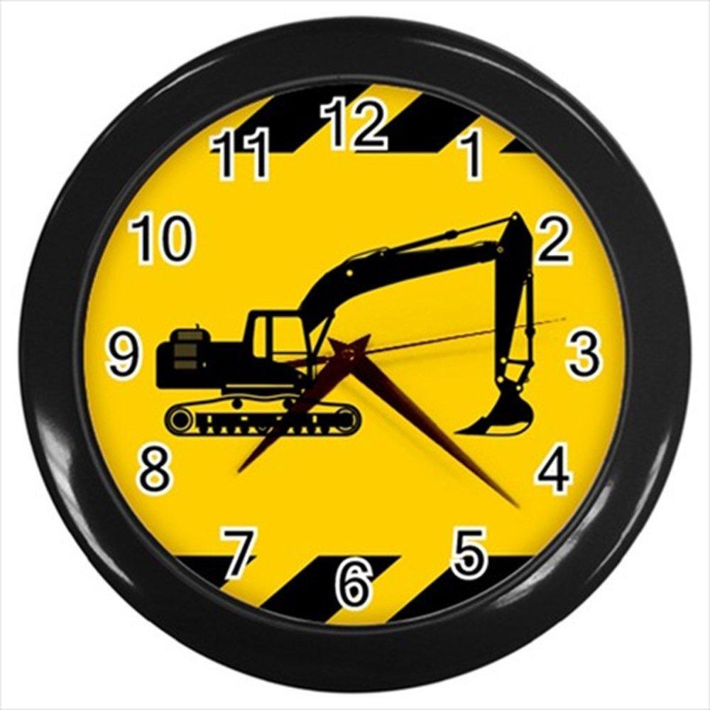 Kidozooo Heavy Equipment and Machinery Silhouette Wall Clock (Black)