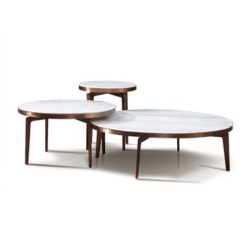 Luxe Italie Fantaisie Salon Maison Marchandises Moderne En Or Rose En Acier Inoxydable Table Basse Travertin Marbre Table Basse Ronde Buy Table