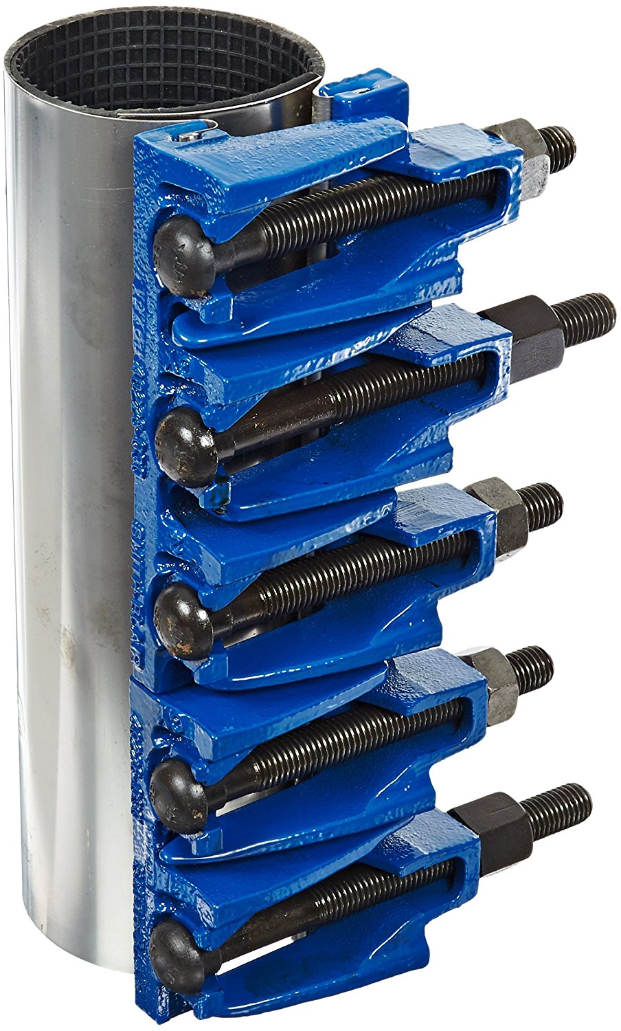 """Smith-Blair Stainless Steel 304 Repair Clamp, Full Circle, Carbon Steel Bolt, 5 Bolts, 12-1/2"""" Length, 3"""" Pipe Size"""