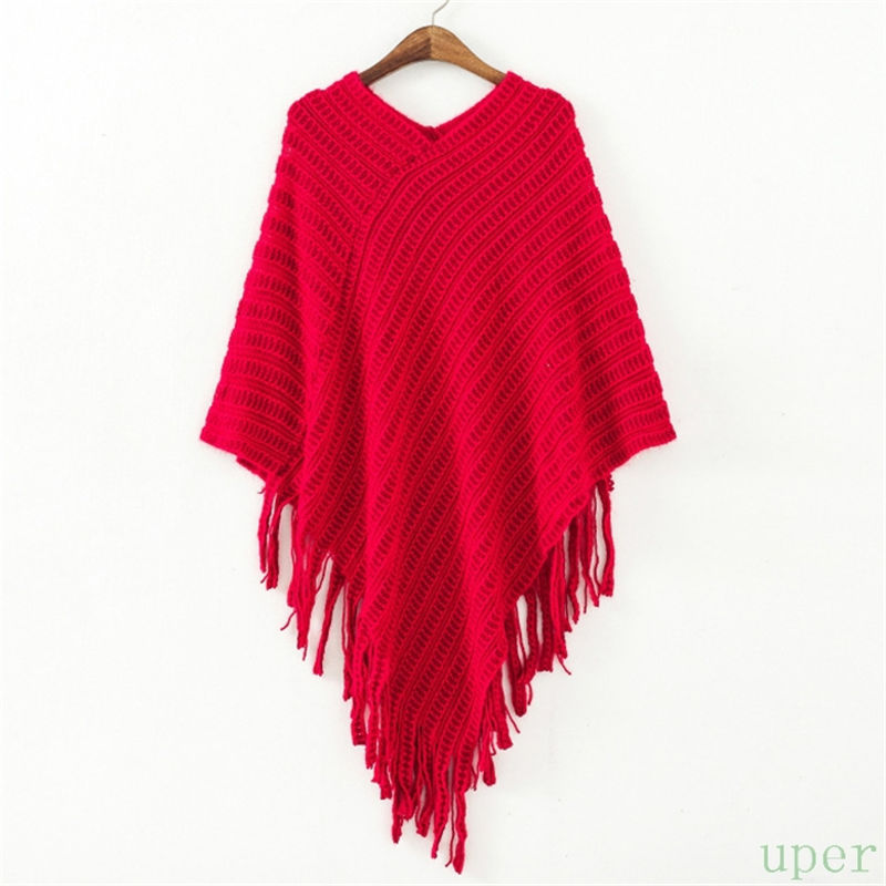 097a01b224a8d2 Get Quotations · 2015 Winter Women V Neck Batwing Stripes Fringed Stitching  Irregular Pullover Poncho Shawl Winter Loose Waves