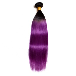 Straight purple hair extensions weft 11a grade peruvian hair