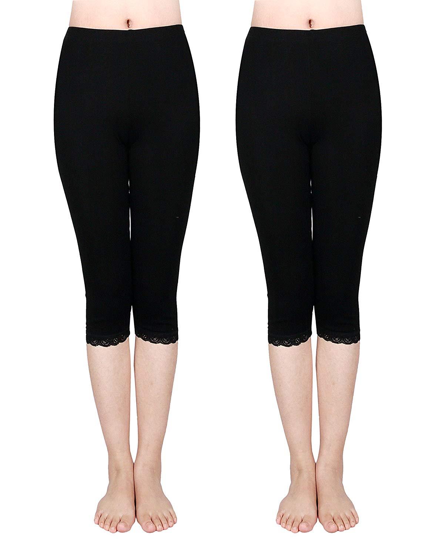 772298a8d543c9 Get Quotations · IRELIA 2 Pack Cotton Girls Leggings Capri with Lace Trim  Pant Size 6-16