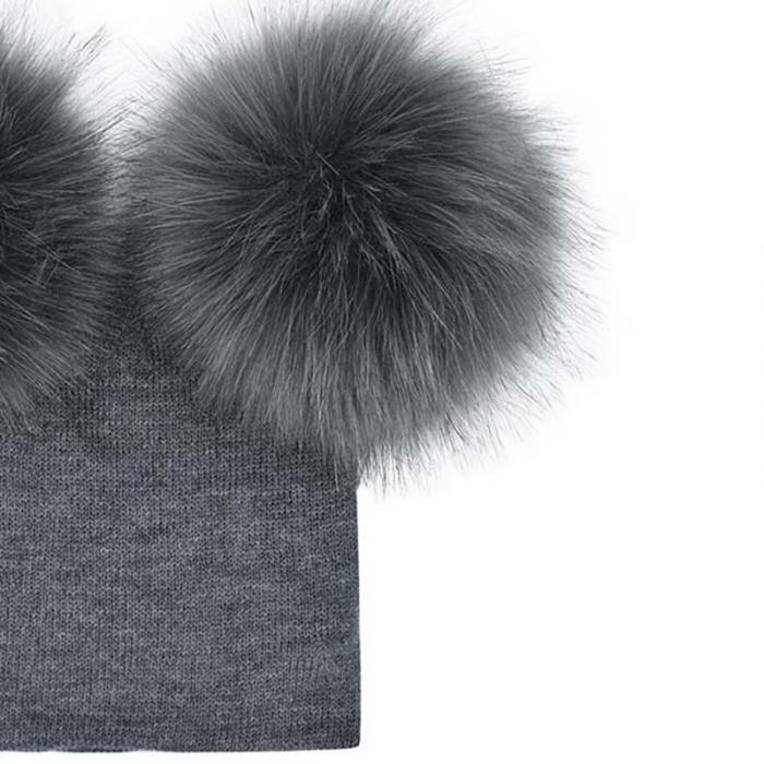 f47f34af8d263f Winter Kids Faux Fur Crochet Hat 2 Plush Balls Toddler Girls Knied Beanie  Children Warm Pom Poms Cap XRQ88. Description: