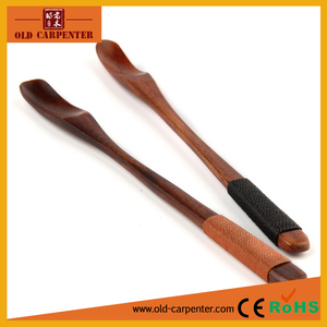 Factory wholesale newly design wood coffe spoon with thread wrapped on handle