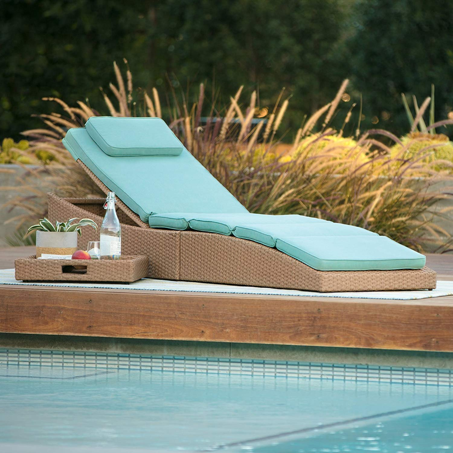 Care 4 Home LLC Folding Cushion Chaise Lounger, Patio Pool Multi Position Space Saving Design, All Weather Wicker, Contemporary Style, Outdoor Furniture, Beach