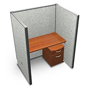 "Privacy Station Panel System 1x1 Configuration Size: 47"" H x 36 - 41.5"" W, Top Finish: Cherry, Panel Color: Beige Polycarbonate"