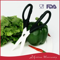Easy grip plastic handle kitchen ceramic vegetable cutting scissors