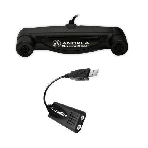Andrea Communications C1-1021450-100 PureAudio USB-SA External Digital USB Sound Card with Superbeam Array2S Microphone Bundle