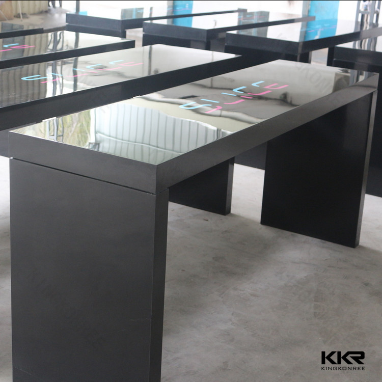Black High Bar Table Quartz Stone Table Top Bar Counter