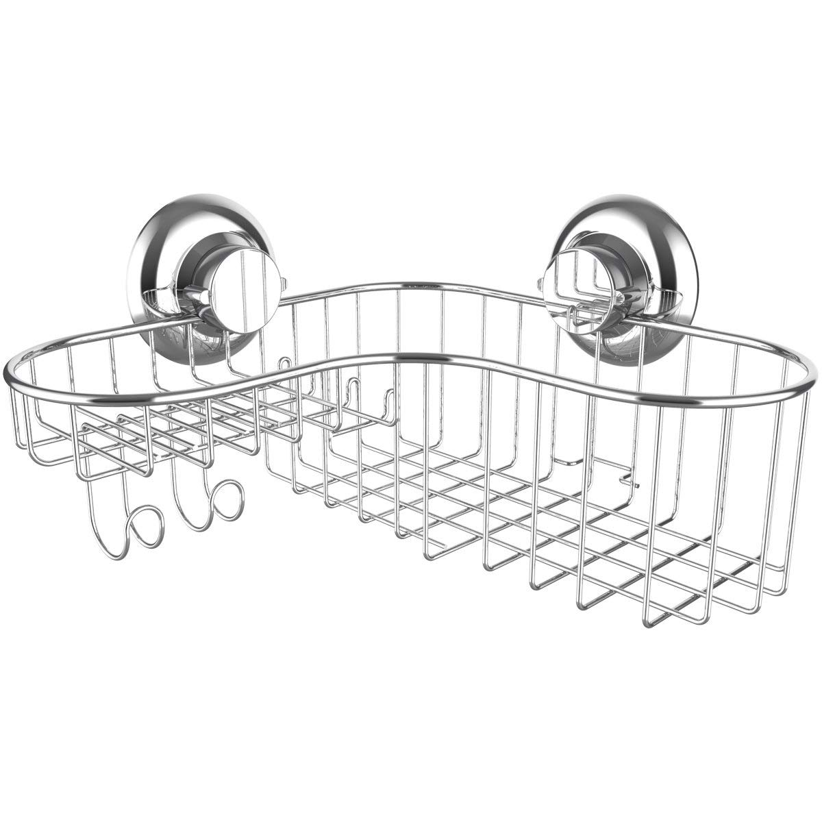 Shower Caddy Suction Cup Corner Combo Powerful Vacuum System Organizer Basket with Soap Holder and Hooks for Shampoo Conditioner Holder, Rustproof 304 Stainless Steel for Bathroom Shelf Storage