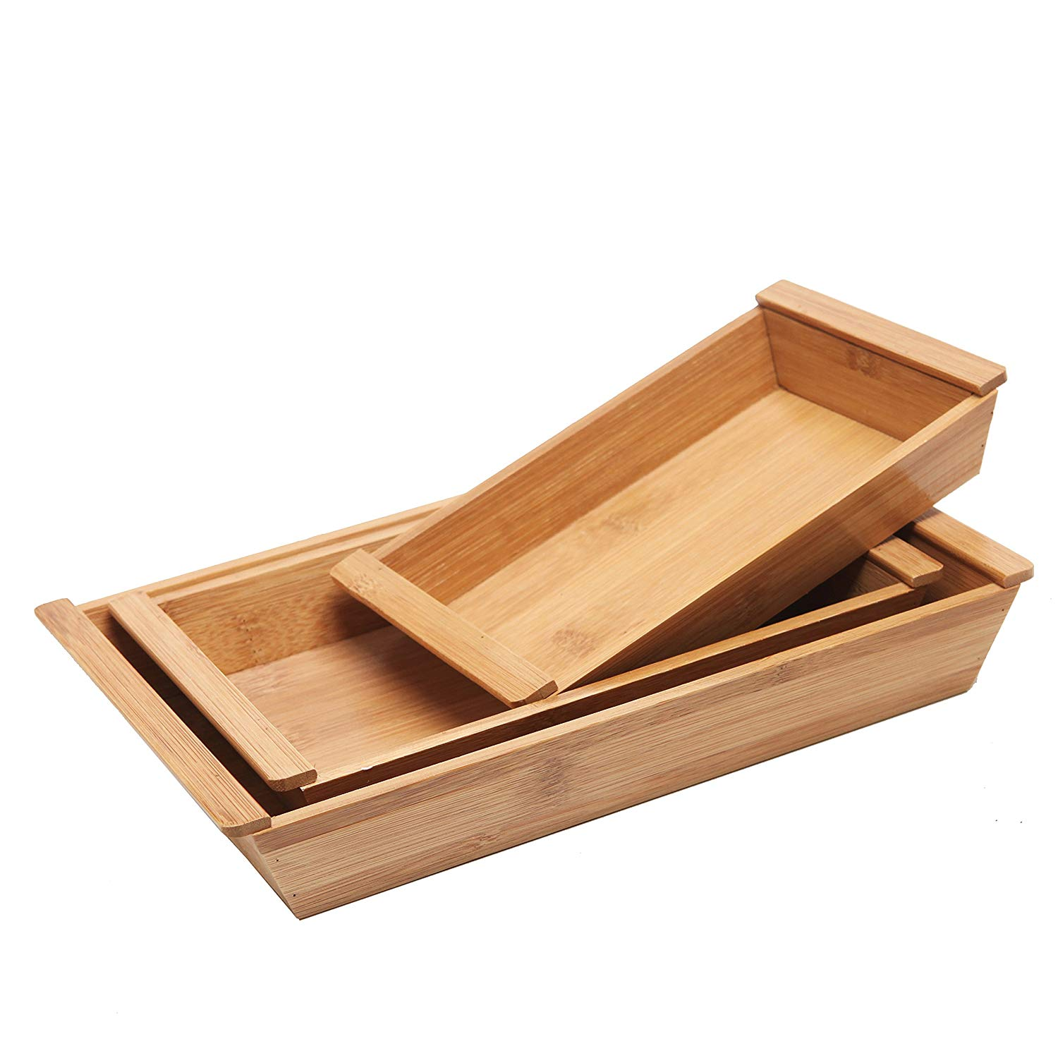 High quality rectangle shape with 3 pieces cheap bamboo designer food serving trays