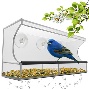 Large Clear Window Bird Feeder with Removable Tray Drain Holes and 3 Suction Cup Bird Feeder
