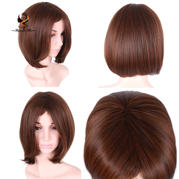 Middle Part <strong>Full</strong> Machine Made Short Dark Brown Bob <strong>Synthetic</strong> <strong>Lace</strong> Front <strong>Wig</strong>