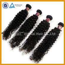 Unprocessed tangle free human hair 24 inch indian remy curl hair weave