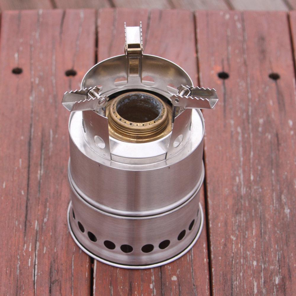 Paslanmaz çelik Mini yanan odun kamp sobası ahşap