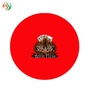 AY Round Red ROYAL FLUSH Center Table Mats Custom Poker Chip Rubber Poker Table Mat with SGS Approved Table Mat