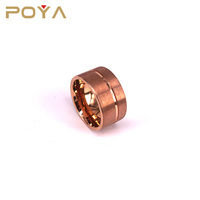 POYA Jewelry 12mm Mens Wedding Band Brown Brushed Tungsten Ring Thin Side Rose Gold Groove Flat Edge Comfort Fit