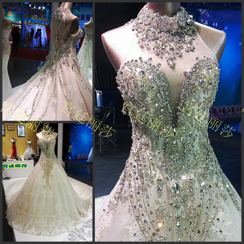 Crystal Design 2016 Wedding Dresses: Elegant 2016 Design Luxuries Cathedral Tail Wedding