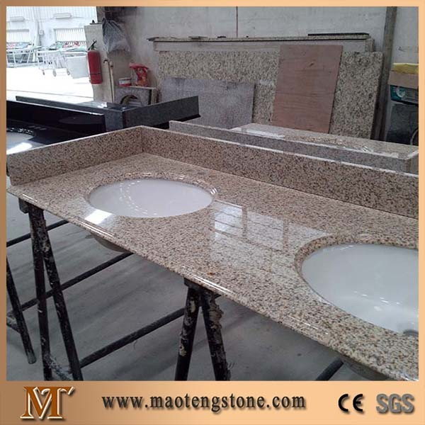 G682 Prefab Bathroom Countertop,double Sink Granite Vanity Top With Ceramic  Sink