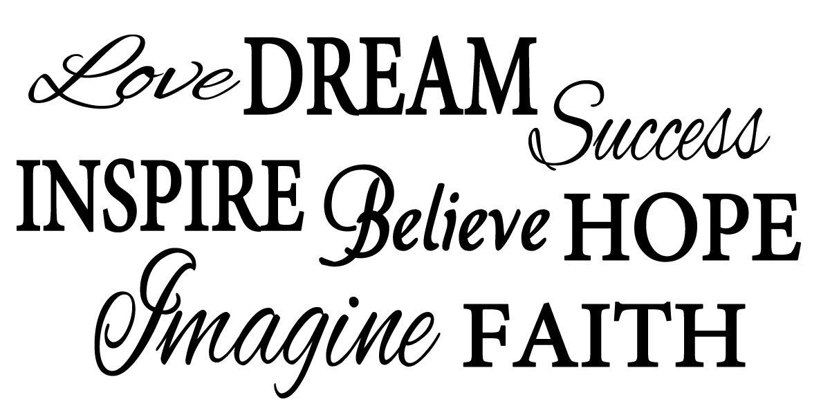 """Word Collage - Love, Dream, Success, Inspire, Believe, Hope, Imagine, Faith- Living Room Entry Way Viny Wall Decal (FA129) (40"""" Wide X 22"""" High / 101 cm Wide x 56 cm High, Black)"""
