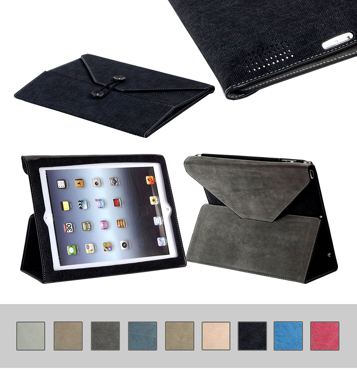 BTM Denim Envelope Jean Portfolio Case Cover Protector for Apple Ipad 2nd 2, 3, 4th 4 Generation Retina Display w/ Elastic Strap & Great Holder | Cute for the Girly Girl | Protective Durable Designer Stand | Cheap Price, Great Value - Black