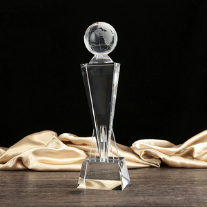 Wholesale cheap custom globe ball award crystal glass trophy with engraved logo