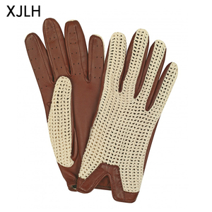 China Manufacturer Sheepskin And Cotton Thread Breathable Leather Driver Gloves