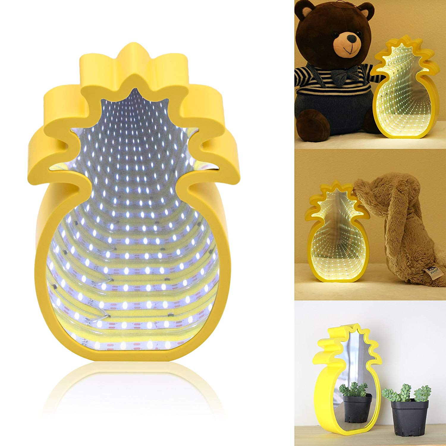 LED Tunnel Light Magic Infinity Mirror Light Battery Operated for Wedding, Birthday Party, Night Light, Gift, Indoor DIY Decoration (White, Pineapple Light)