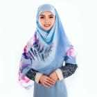 Custom Digital Printed Cotton Voile Muslim Style Hijab Scarf for Malaysia