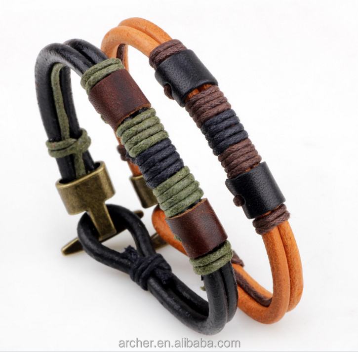 2016 New Arrival fashion handmade wax cotton rope and wood beads cow leather men's bracelet/men's <strong>accessories</strong>