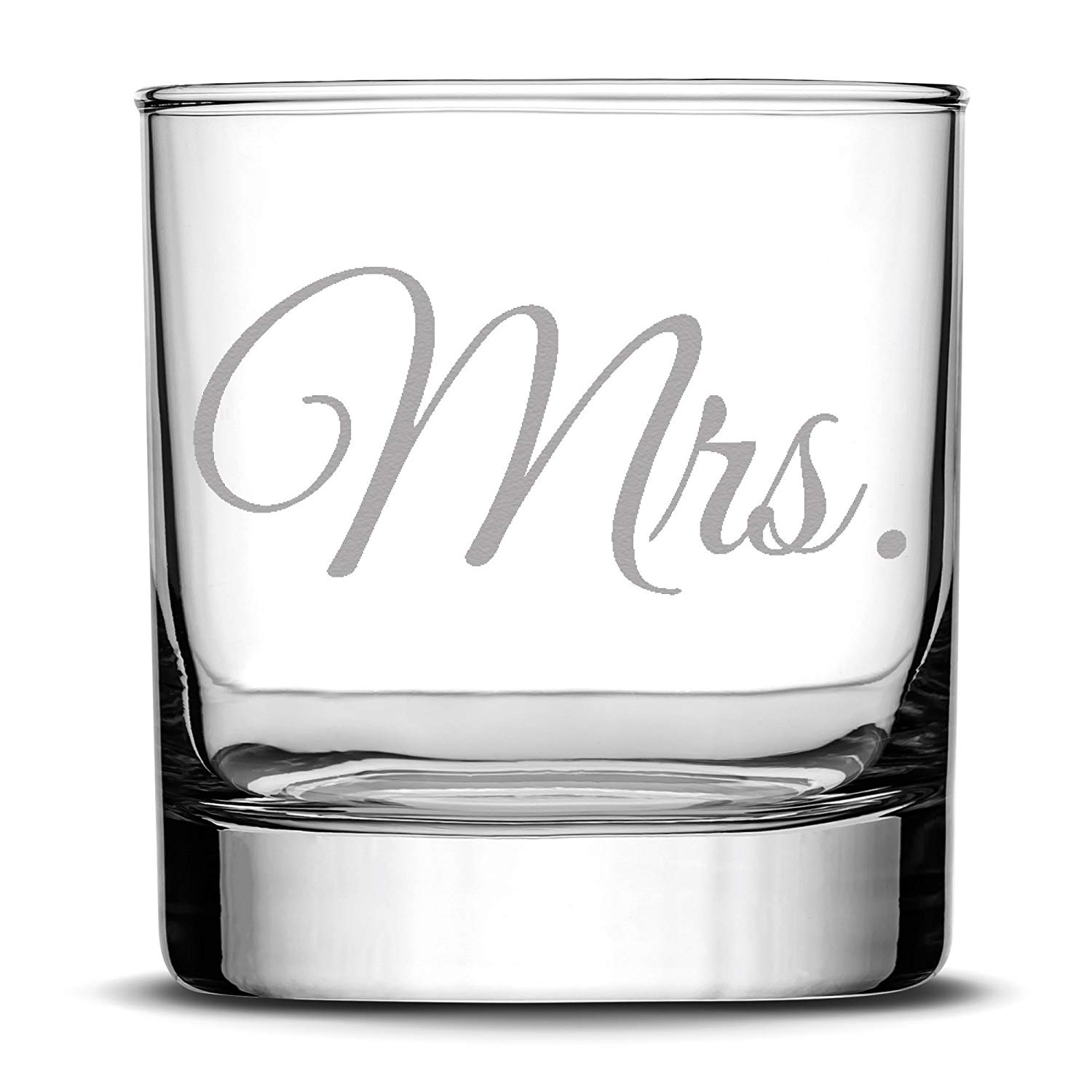 Premium Wedding Whiskey Glass, Mrs., Hand Etched 10oz Rocks Glass, Made in USA, Highball Gifts, Single Glass, Sand Carved by Integrity Bottles