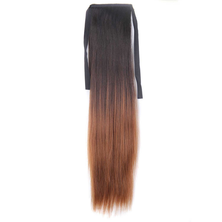 New Design Fashion Ombre Dark Brown and Yellow Color Silky Straight Synthetic Hair Drawstring Ponytail Hairpieces for Women