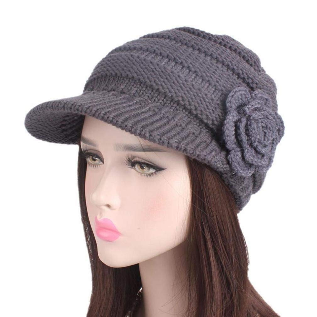 e55bc6640fd Get Quotations · Binmer(TM) Brim Hat Beanie Hat Women Ladies Winter Flower Knitting  Hat Berets Turban