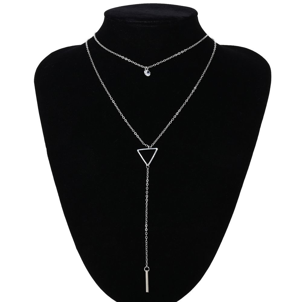 2018 New Arrival Fashionable Simple Female Zircon Copper Bead Long Silver Plated Chain Necklace