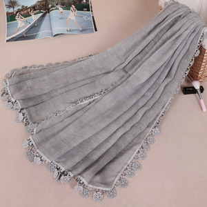 wholesale tie-dyed cotton hijab women hijab scarf beautiful woven lace shawls arab stoles