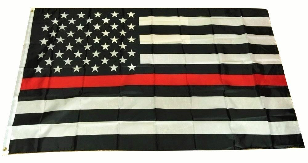 Thin Red Line USA American Flag for Firefighters Emergency Rescue EMT EMS Paramedics 3x5 Feet Printed Flag with Grommets by TrendyLuz Flags