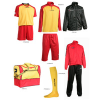 new design custom cool dry yellow and red soccer kits