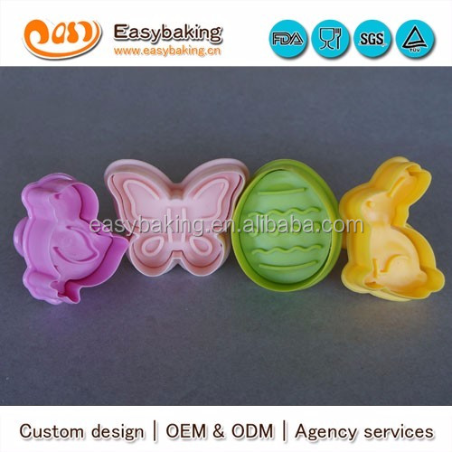 cp-203 strong food grade butterfly easter egg hare duck 4 pcs cookie cutter set