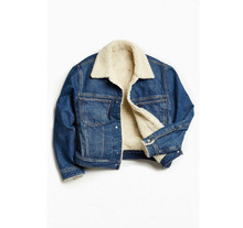 En gros Fausse Fourrure Col Plat All Match Denim Epaissir Manteau