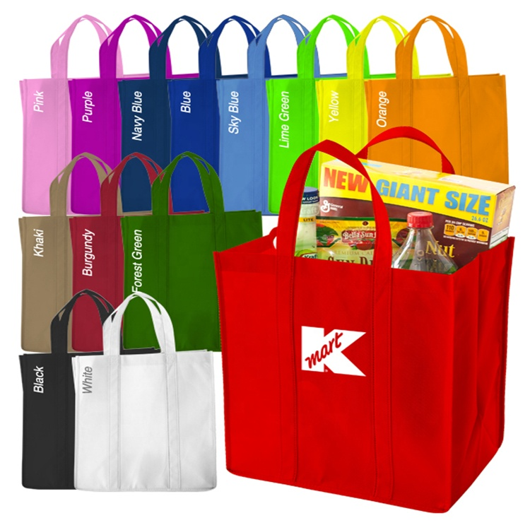 Custom Promotional printed pp non woven polypropylene eco grocery carry bag/non woven reusable grocery shopping bag