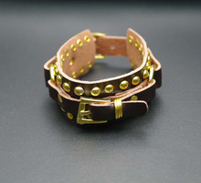 5cm width New leather rivet bracelet Punk Rock Brown Leather Wristband Bracelet