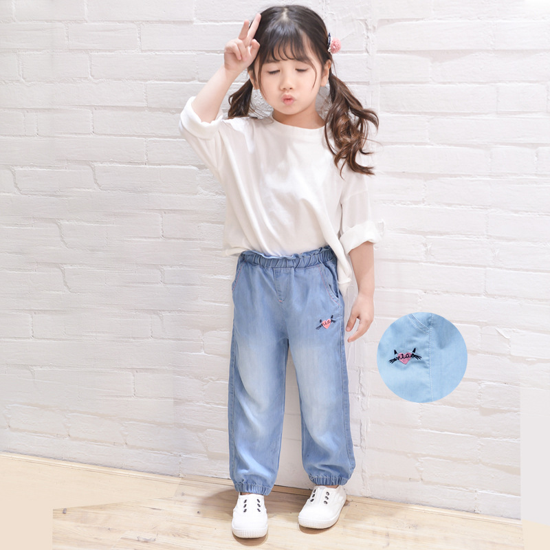 Girls casual pants 2018 spring and autumn new jeans lace waist embroidery nine pants