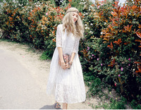 Summer new design round half sleeves maxi dress in silk skirt temperament fold & white lace long one piece dress