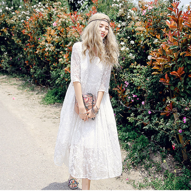 3416e48a340 Summer new design round half sleeves maxi dress in silk skirt temperament  fold  amp  white