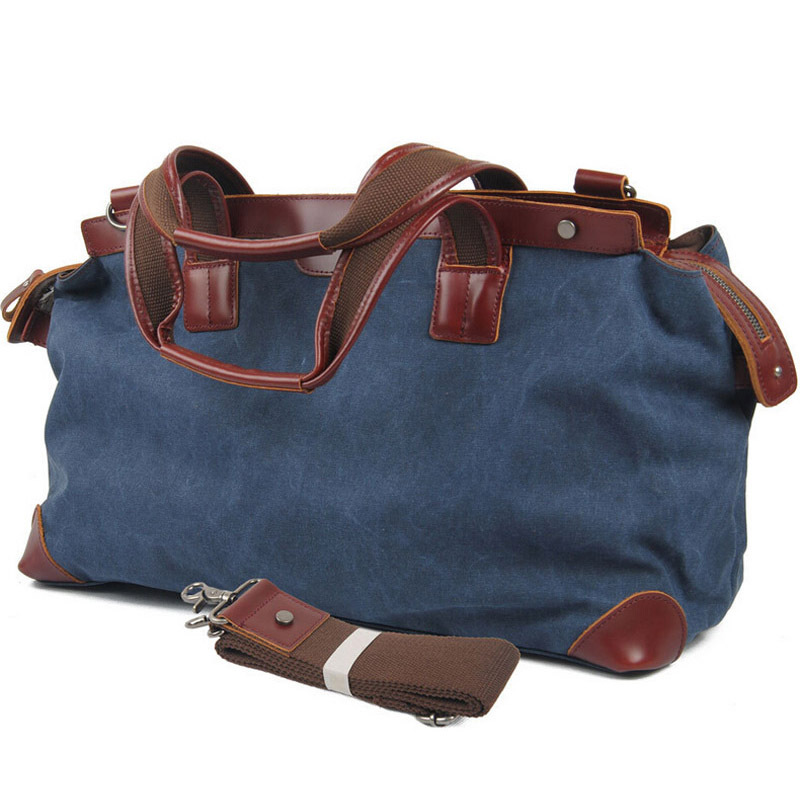a75d4bbc4c0e Get Quotations · Top Quality Men Women s Large Travel Bags Casual  Waterproof Thick Canvas +Leather Luggage Travel Duffles